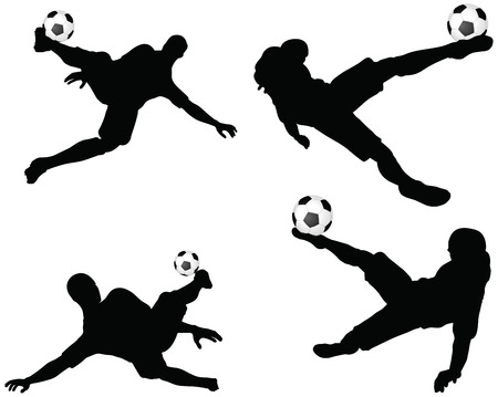 isolated poses of soccer players silhouettes in air position Vector