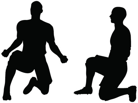 rejoices: isolated poses of soccer players silhouettes in rejoices position Illustration