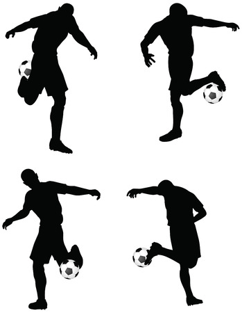 dribble: isolated poses of soccer players silhouettes in dribble position