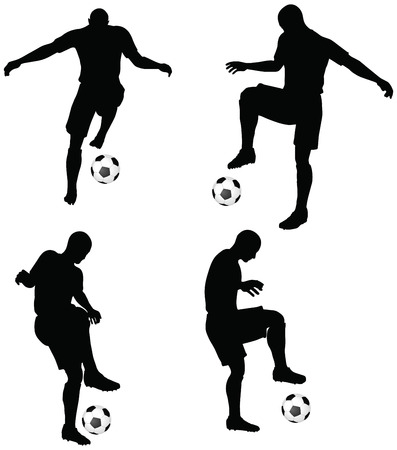 isolated poses of soccer players silhouettes in dribble position Vector