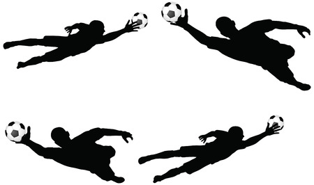 isolated poses of soccer players silhouettes in air jumping position Vector