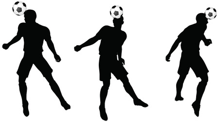 isolated poses of soccer players silhouettes in head strike position Vector