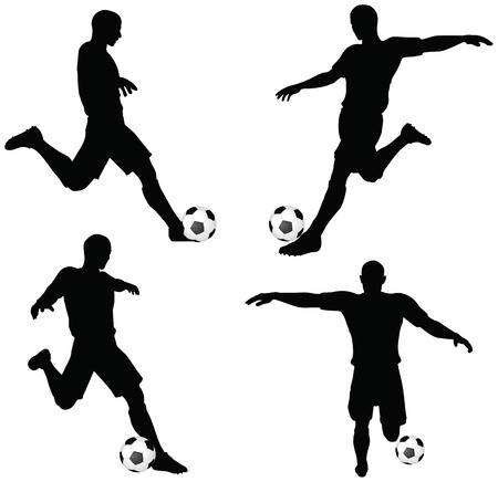 isolated poses of soccer players silhouettes in run and strike position Vector