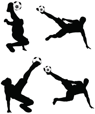striker: isolated poses of soccer players silhouettes in air position Illustration