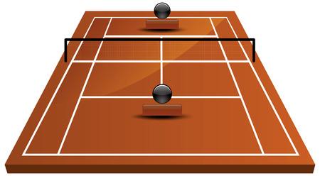 battu: Illustration Vecteur de champ court de tennis en terre