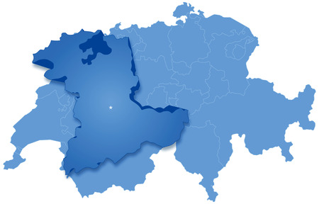 Political map of Switzerland with all cantons where Bern is pulled out Vector