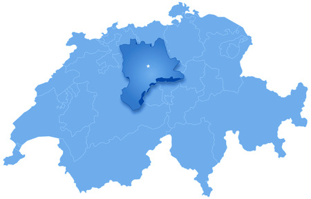 Political map of Switzerland with all cantons where Lucerne  is pulled out