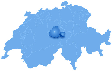 Political map of Switzerland with all cantons where Obwalden is pulled out Vector