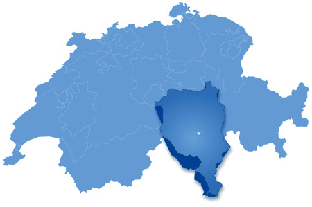Political map of Switzerland with all cantons where Ticino is pulled out