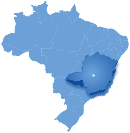 Political map of Brazil with all states where Minas Gerais is pulled out