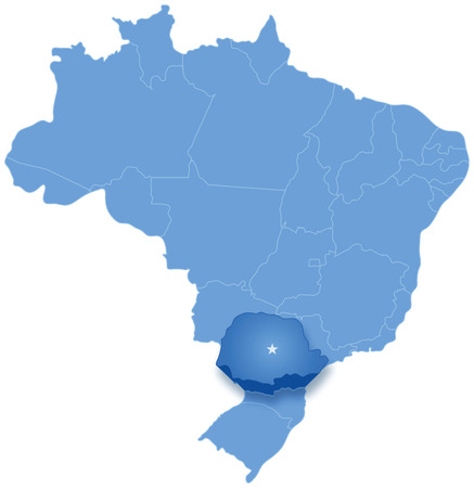 Political map of Brazil with all states where Parana is pulled out