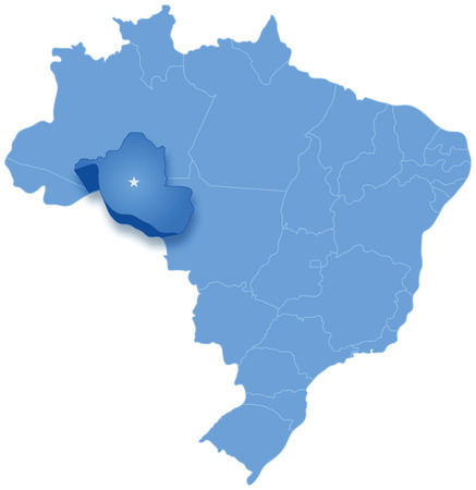Political map of Brazil with all states where Rondonia is pulled out Illustration