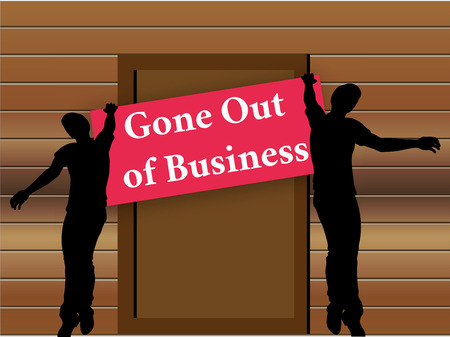 EPS 10 vector of closing down sign in shop entrance