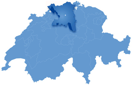 Political map of Switzerland with all cantons where Aargau is pulled out Vector