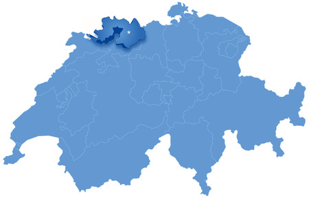 landschaft: Political map of Switzerland with all cantons where Basel -Landschaft is pulled out Illustration