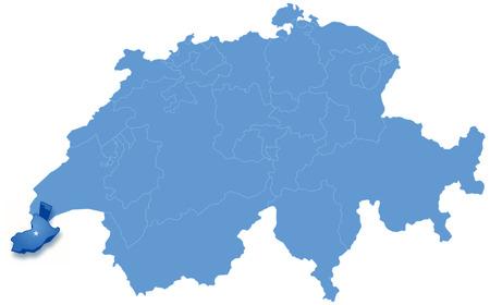 Mapa político de Suiza con todos los cantones de Ginebra, donde se saca