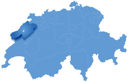 tel: Political map of Switzerland with all cantons where Neuch�tel is pulled out Illustration
