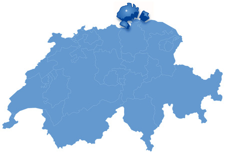 Political map of Switzerland with all cantons where Schaffhausen is pulled out