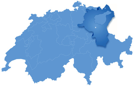 st  gallen: Mapa pol�tico de Suiza con todos los cantones donde St. Gallen se saca