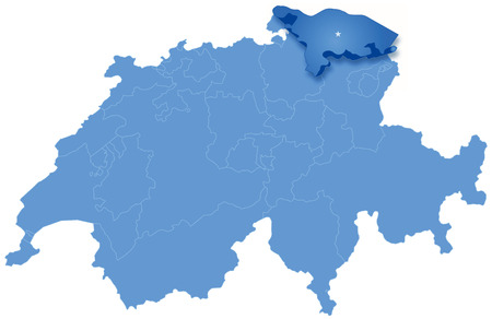 Political map of Switzerland with all cantons where Thurgau is pulled out Vector