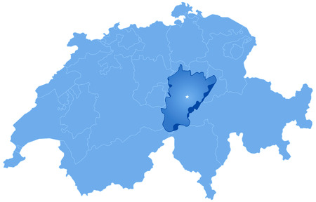 Political map of Switzerland with all cantons where Uri is pulled out Vector