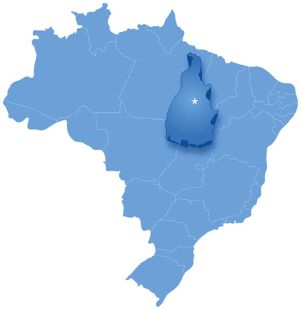Political map of Brazil with all states where Tocantins is pulled out Vector