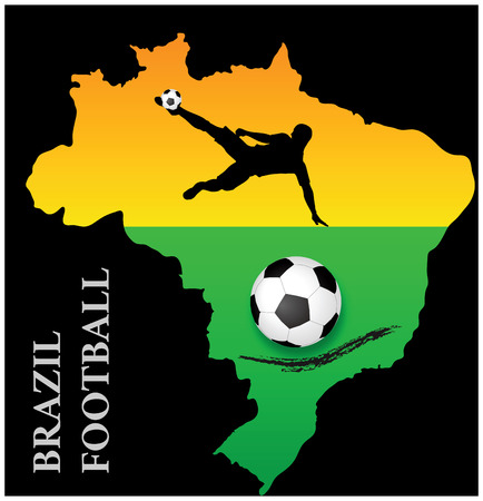 EPS 10 vector of poster of brazil map flag soccer football Vector