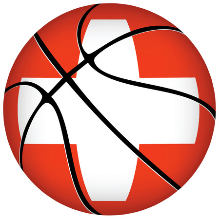 swiss flag:   Basketball ball with swiss flag on white. Illustration