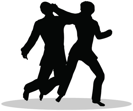 Karate martial art silhouettes of man and woman in karate poses Illustration