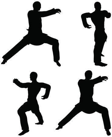 stance:  Karate martial art silhouettes of men in hardbow stance karate poses Illustration