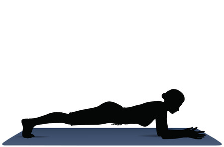 EPS 10 vector illustration of Yoga positions in Dolphin Plank Pose