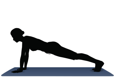plank position: EPS 10 vector illustration of Yoga positions in Plank Pose
