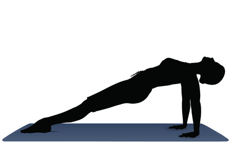 EPS 10 vector illustration of Yoga positions in Upward Plank Pose Vector