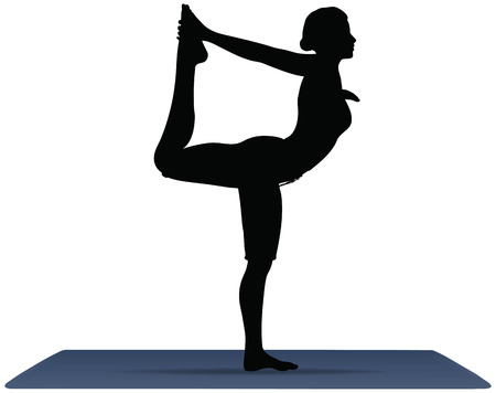 EPS 10 vector illustration of Yoga positions in The Dancers Pose Stock Vector - 25653765