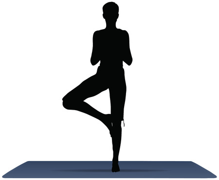 EPS 10 vector illustration of Yoga positions in Tree Pose Vector