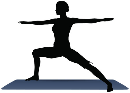 warrior pose: EPS 10 vector illustration of Yoga positions in Warrior Pose