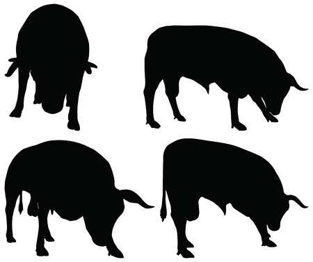 silhouettes of cattle collection in graze position Vector