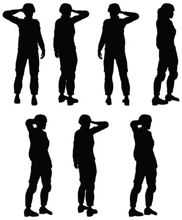 Soldier, officer, captain, policeman saluting Vector