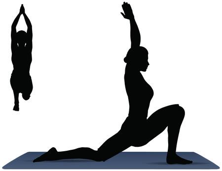 Illustration of Yoga pose on a yoga mat