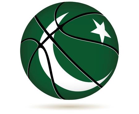 pakistan flag: 3D basket ball with Pakistan flag on white. Illustration