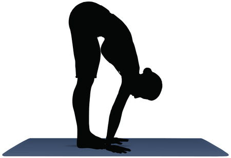 vector illustration of Yoga positions in Forward Bend Pose Illustration