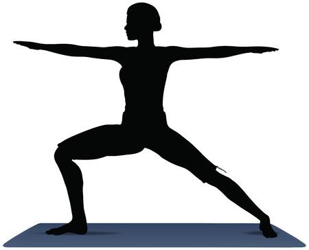 ilustración vectorial de posiciones de yoga en actitud del guerrero