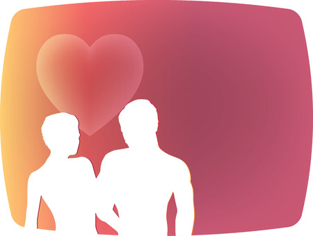 Vector drawing of couple silhouettes on walking position