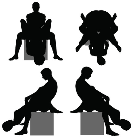 sex positions: EPS 10 Vector of silhouette with kama sutra positions on white background