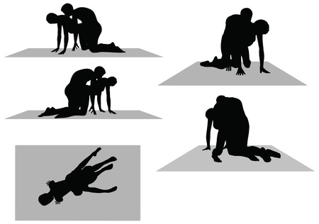 EPS 10 Vector of silhouette with kama sutra positions on white background
