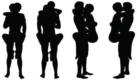 educacion sexual: EPS 10 del vector de la silueta con posiciones de kama sutra en el fondo blanco