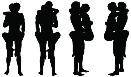 sex couple: EPS 10 Vector of silhouette with kama sutra positions on white background