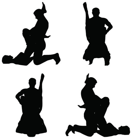 romantic sex: EPS 10 Vector of silhouette with kama sutra positions on white background