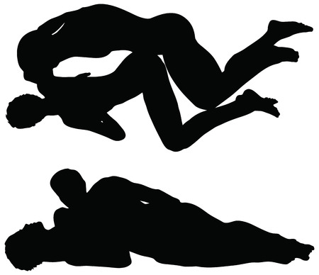EPS 10 Vector of silhouette with kama sutra positions on white background Vector