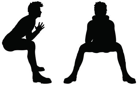 白い背景の上の位置に座っての男のシルエットの EPS 10 ベクトル  イラスト・ベクター素材